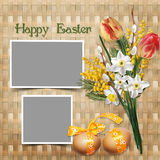 Easter greeting card with frames Stock Images