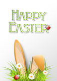 Easter greeting card with fresh grass, ears of bunny and a ladyb Stock Image