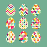 Easter greeting card. Geometric painted egg. Set of easter eggs icons. Royalty Free Stock Image