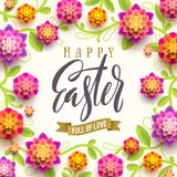 Easter greeting card with glitter gold ribbon and paper flowers background. Vector illustrati. Easter greeting card - Easter brush calligraphy greeting with Royalty Free Illustration
