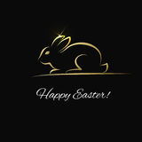 Easter greeting card with gold bunny Stock Photo
