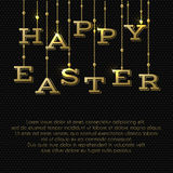 Easter greeting card with gold hanging letters Stock Photo