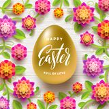 Easter greeting card. Easter golden egg with calligraphic greeting and paper flowers. Easter greeting card. Easter golden egg with calligraphic greeting and Royalty Free Stock Photography