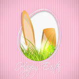 Easter greeting card with grass and bunny Royalty Free Stock Photos