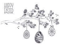 Easter greeting card with  Hand drawn Branch with leaves and Han Stock Image