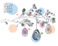 Easter greeting card with Hand drawn Branch with leaves and Hang Royalty Free Stock Photo