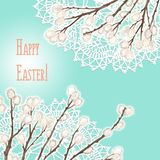 Easter greeting card - hand drawn illustration with doilies and pussy-willow royalty free illustration