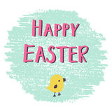 Easter greeting card with hand drawn lettering chick Royalty Free Stock Photos