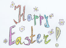 Easter Greeting Card with happy easter sign Royalty Free Stock Photography