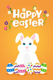 Easter greeting card of happy rabbit and eggs Stock Image