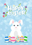Easter greeting card of happy rabbit and eggs Stock Photos