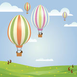 Easter Greeting Card Illustration with easter bunnies in hot air Stock Image
