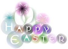 Colorful Easter greeting card with flowers isolated Stock Photo