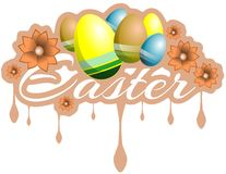 Colorful easter label with eggs isolated Stock Photo
