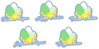 Easter greeting card with eggs isolated Royalty Free Stock Photography