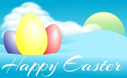 Easter greeting card with sky and eggs Stock Photography
