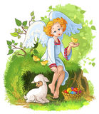 Cute angel girl with Easter basket, chickens and l. Easter greeting card illustration of  little cute angel girl sitting on grass with an Easter basket and Stock Photography