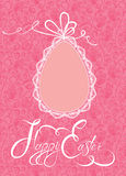 Easter greeting card with lace egg with ribbon Royalty Free Stock Photography
