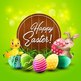 Easter greeting card with little rabbit, duck, colorful eggs, and a wooden sign Royalty Free Stock Photos