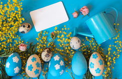 Easter greeting card. Painted eggs with yellow mimosa flowers and tiny watering can Royalty Free Stock Photos
