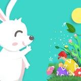 Easter greeting card, paper cut style, adorable rabbit in garden cartoon, poster seasonal holiday vector illustration vector illustration