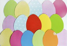 Easter Greeting Card with paper eggs. Easter background  with colorful paper eggs Stock Images