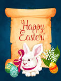 Easter greeting card paper scroll with egg, bunny Stock Images