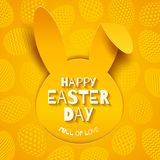 Easter greeting card. Paper silhouette of rabbit head on a background with eggs. Easter greeting card. Easter greeting on a paper silhouette of rabbit head on a Royalty Free Stock Photos