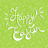 Easter greeting card quote on doodle background Royalty Free Stock Images