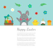 Easter greeting card with rabbit, bunny, eggs and chicken. Vector Royalty Free Stock Image