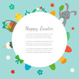 Easter greeting card with rabbit, bunny, eggs and chicken. Vector Royalty Free Stock Photos