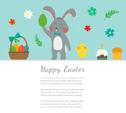 Easter greeting card with rabbit, bunny, eggs and chicken. Vector Royalty Free Stock Photography