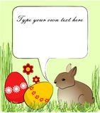Easter greeting card with rabbit and colored eggs Royalty Free Stock Photos