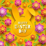 Easter greeting card. Rabbit head paper silhouette and flowers/. Easter greeting card. Easter greeting on a paper silhouette of rabbit head and multicolored Stock Photo