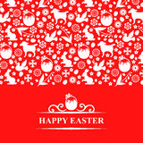 Easter greeting card on red background Stock Photos