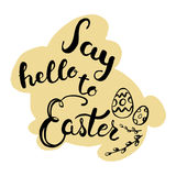 Easter greeting card - Say hello to Easter. Royalty Free Stock Photo
