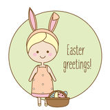 Easter greeting card, seasonal background. Cute smiling girl with bunny ears and eggs in basket Royalty Free Stock Photo