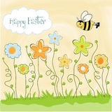 Easter greeting card with spring flowers Stock Photo