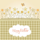 Easter greeting card with spring flowers Royalty Free Stock Image