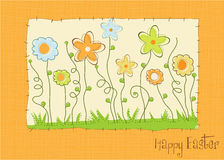 Easter greeting card with spring flowers Royalty Free Stock Photography