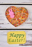 Easter greeting card, sprinkle dots. Heart box with sweets stock photos