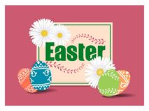 Easter greeting card template with beautiful colorful spring flowers and eggs. Vector illustration. vector illustration