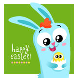 Easter greeting card template with bunny holding egg Stock Image