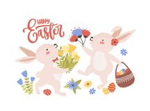 Easter greeting card template with pair of cute funny bunnies or rabbits collecting spring flowers and eggs and holiday vector illustration