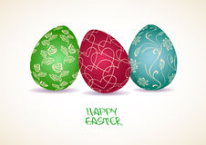 Easter greeting card with three eggs Stock Image