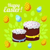 Easter greeting card with traditional cakes on a bright spring background. vector illustration Royalty Free Stock Photography