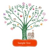 Easter greeting card with tree Royalty Free Stock Photography