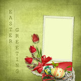 Easter greeting card with tulips Royalty Free Stock Image