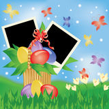 Easter greeting card with two frame for photo. Royalty Free Stock Images