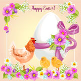 Easter greeting card vector flowers, paschal egg Royalty Free Stock Photography